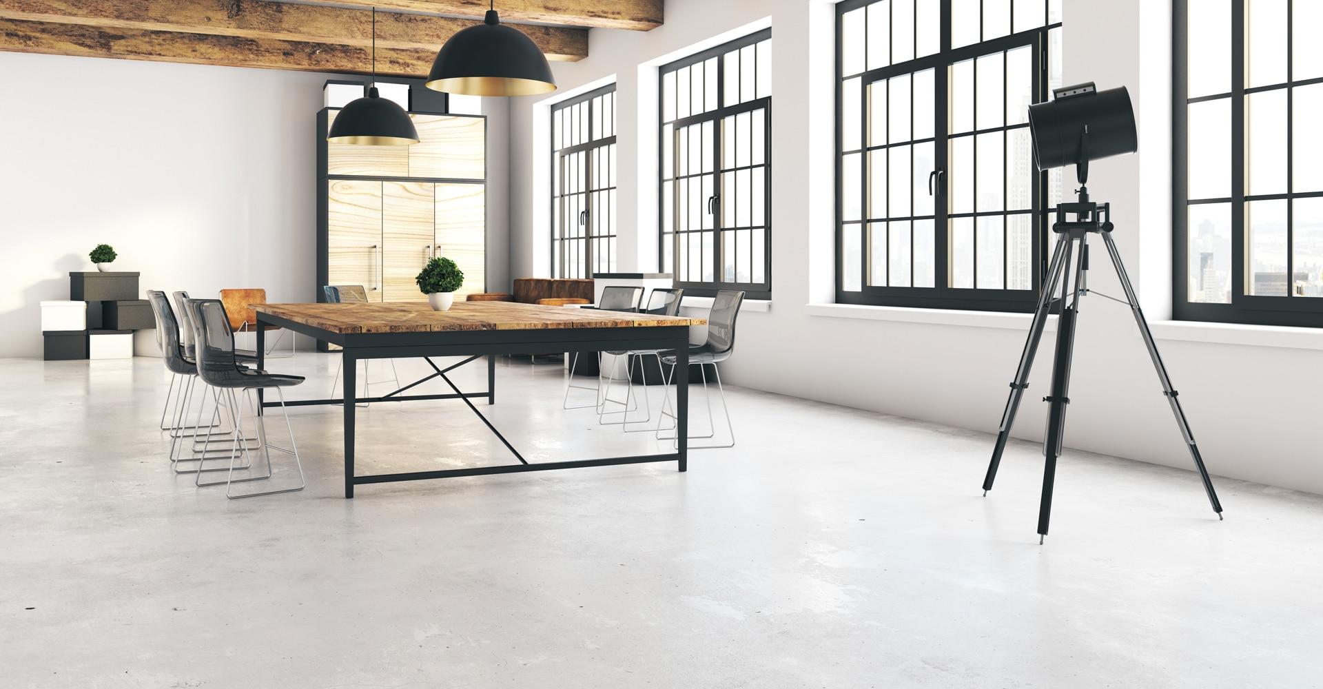Cementgebonden gietvloer voor kantoor