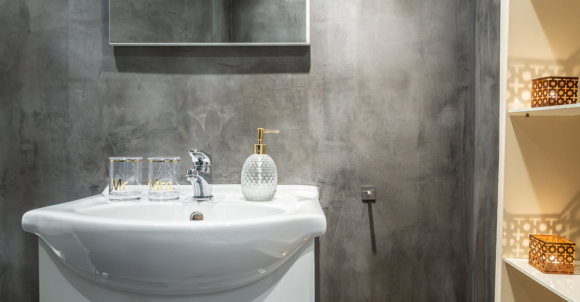 Beton cire wand badkamer