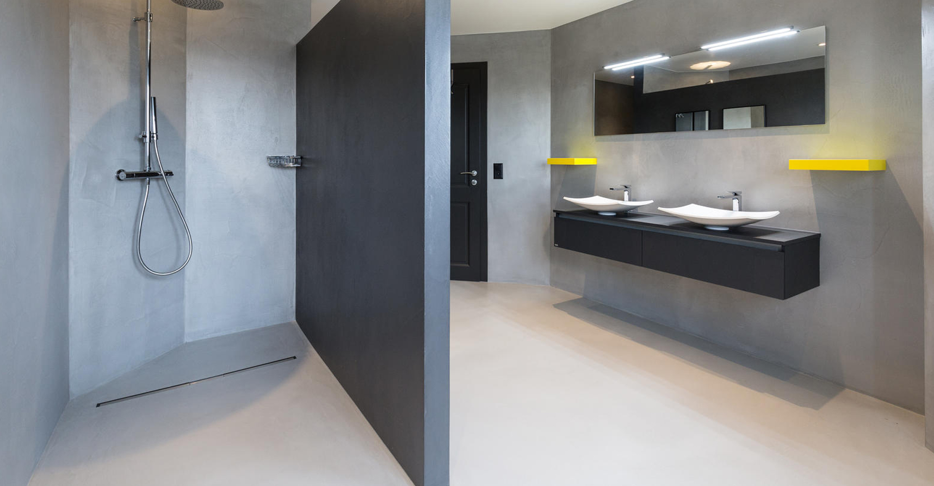 Beton cire wanden badkamer