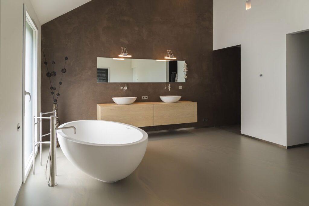Gietvloeren badkamer taupe