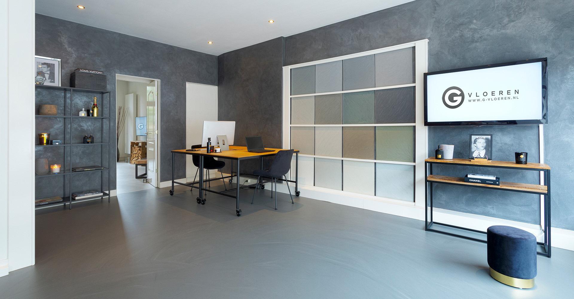 Gietvloer showroom G-vloeren kleuren